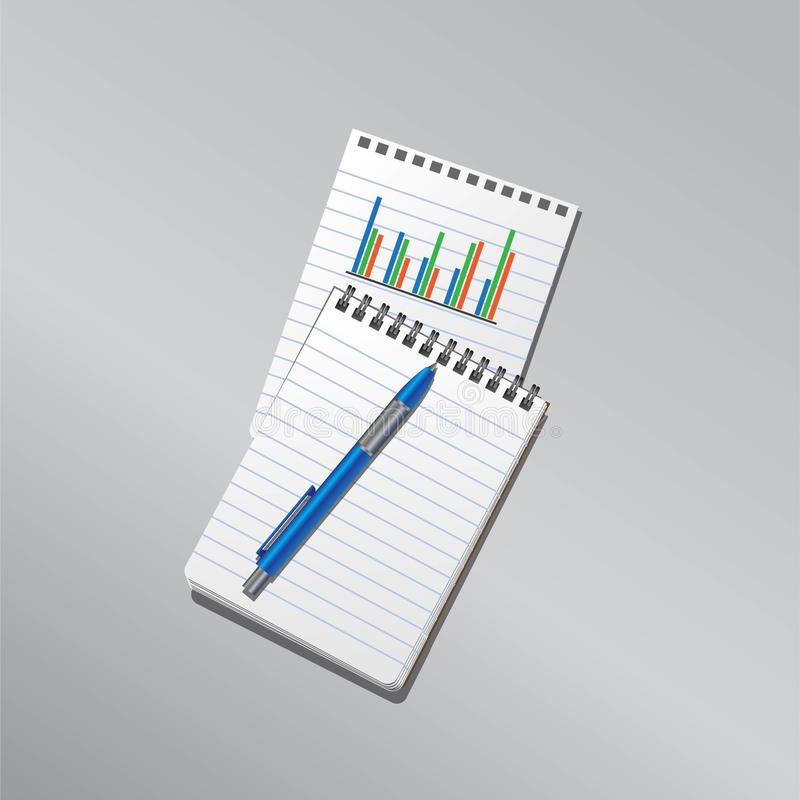Plans et projets de diagramme de carnet de notes illustration de vecteur