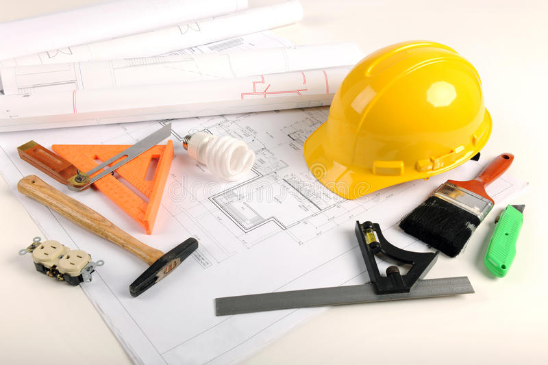 Download Plans, Hardhat, and Tools stock image. Image of hardhat - 14096665
