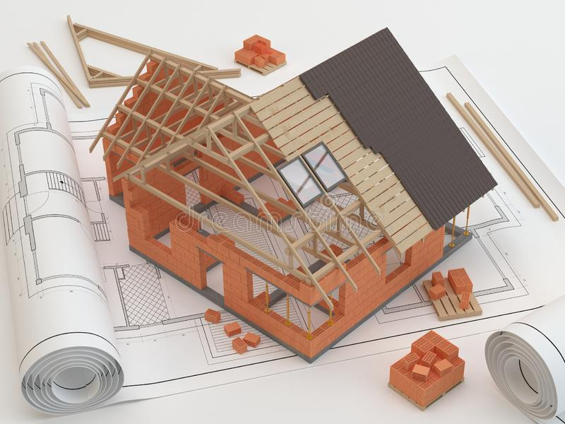 Plans and house, 3D illustration stock illustration