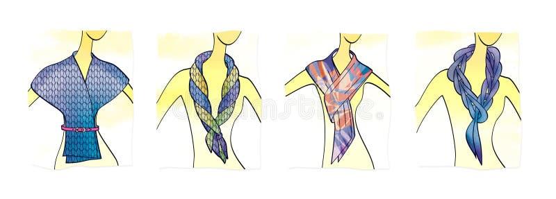 4 plans pour attacher des écharpes et des silencieux de mode illustration de vecteur