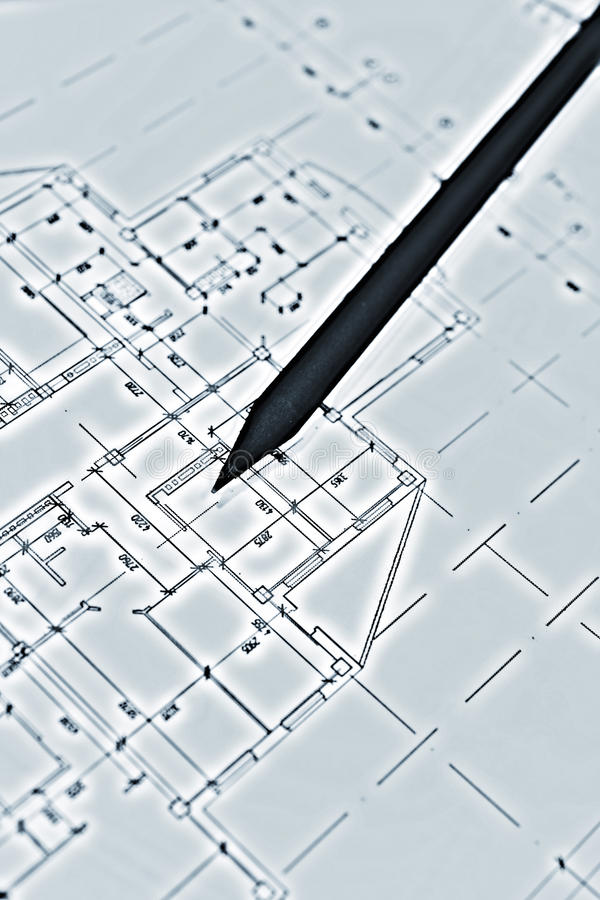 Plans for residential flats with pencil. Closeup stock images