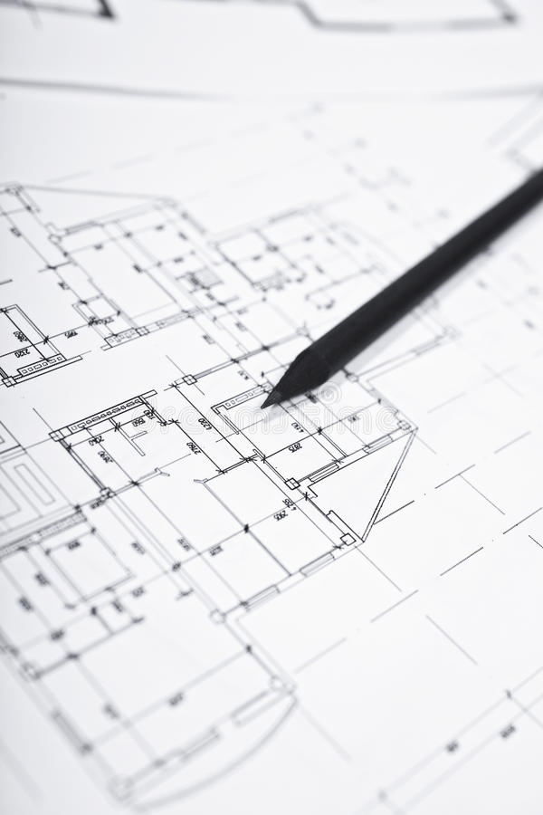 Plans for residential flats with pencil. Closeup stock image