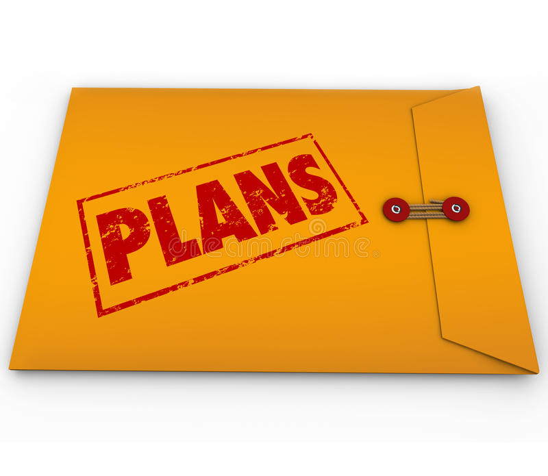 Plans Secret Confidential Envelope Covert Operations. The word Plans on a yellow confidential envelope containing hidden contents for a successful strategy or vector illustration
