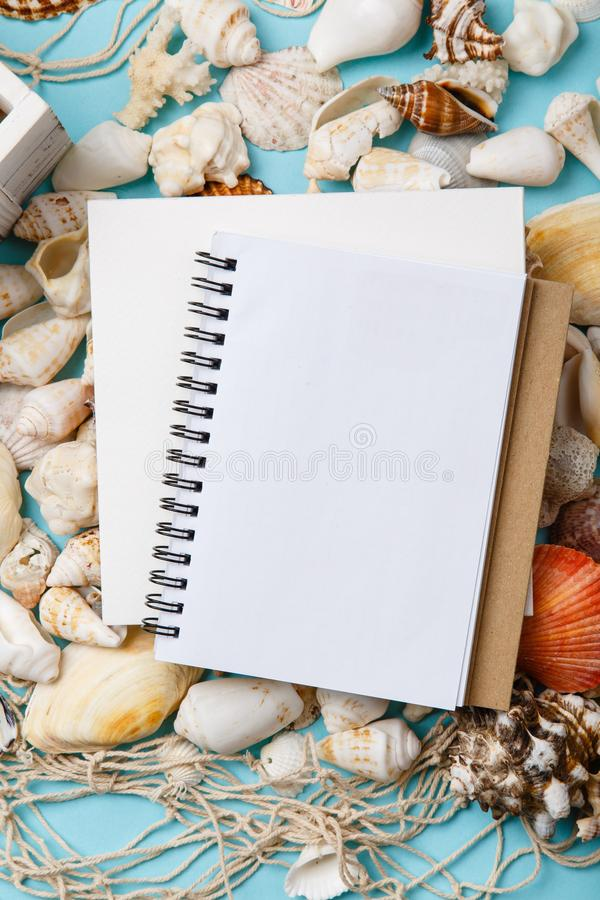 Plans For Summer Vacation. Note Book On Seashells. Stock