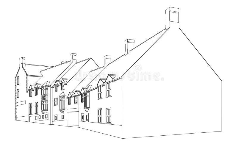 plansikt för 2 hus royaltyfri illustrationer