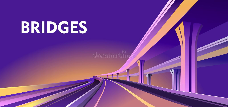 Planskild korsningviaduktbro vektor illustrationer