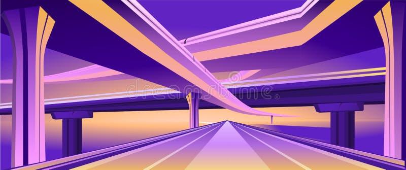 Planskild korsningviaduktbro royaltyfri illustrationer