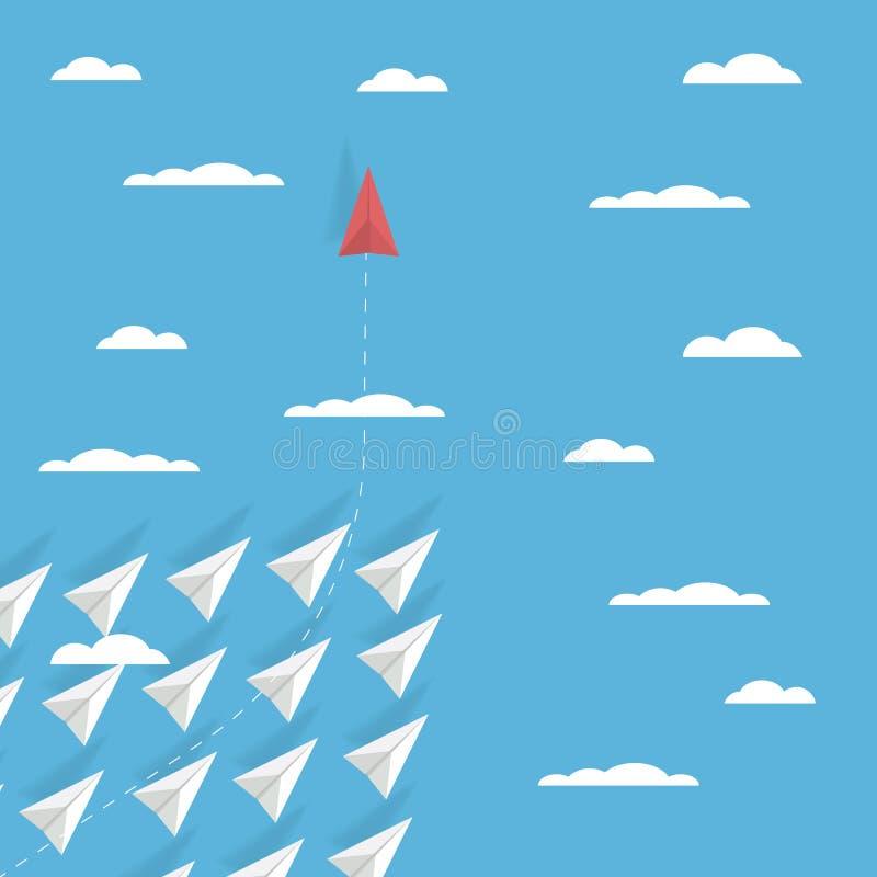 Planspielwechsler-Konzeptvektor mit einem flachen Fliegen des Papiers in der unterschiedlichen Richtung als andere Revolutionäre  vektor abbildung