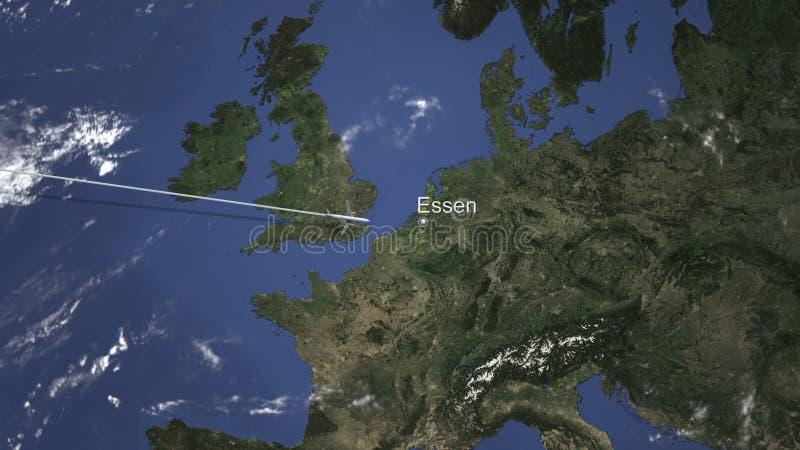 Plant ankomma till Essen, Tyskland från västra, tolkning 3D stock illustrationer