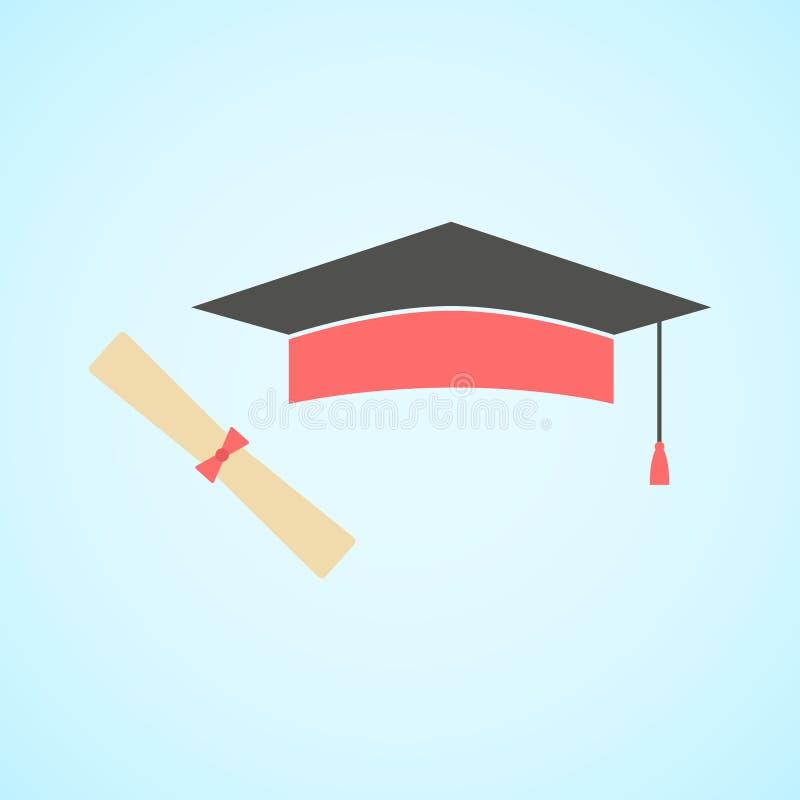 Plant avläggande av examenlock och diplom, begrepp av utbildning och knowle royaltyfri illustrationer