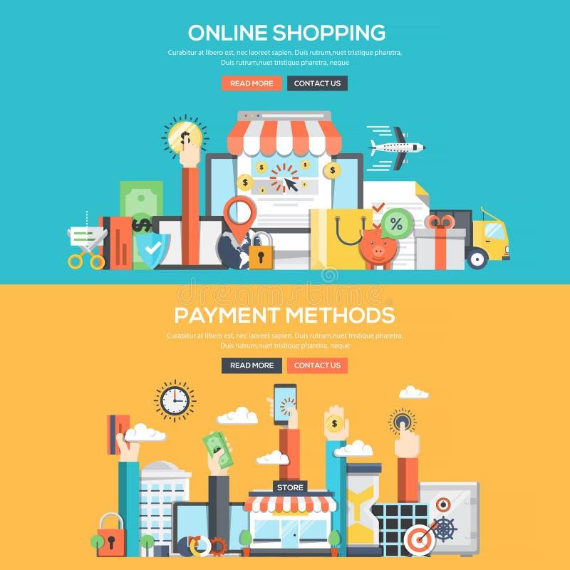 Plant baner för designbegrepp - online-shopping- och betalningmetoder royaltyfri illustrationer