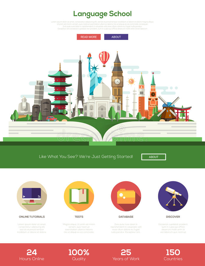 Plant baner för titelrad för website för designspråkskola med webdesignbeståndsdelar stock illustrationer