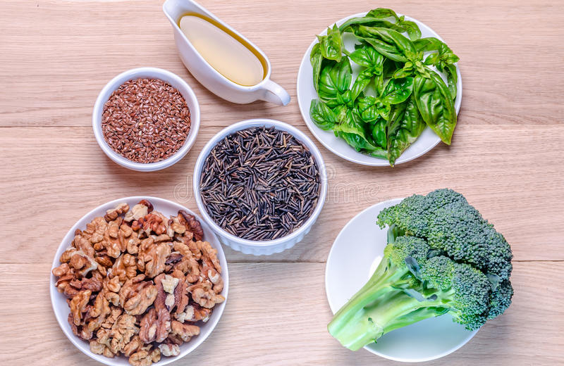 Plant-based sources of Omega-3 acids stock photo