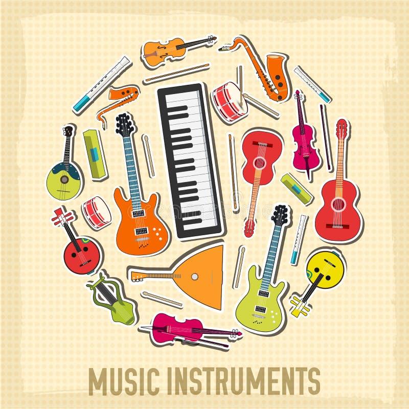 Plant begrepp för bakgrund för musikinstrument vektor royaltyfri illustrationer