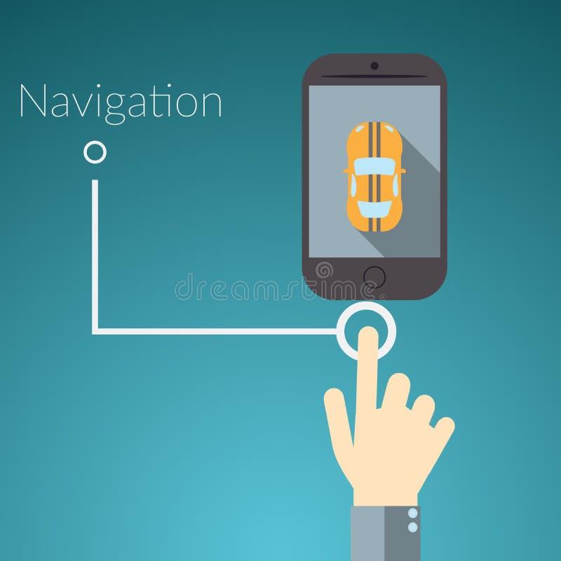 Plant begrepp för designvektorillustration för online-tjänst Begrepp för den rörande handen ilar telefonen med bilen, textteckenn vektor illustrationer