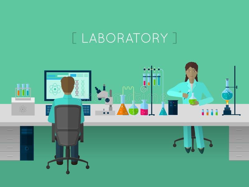 Plant begrepp för laboratorium stock illustrationer
