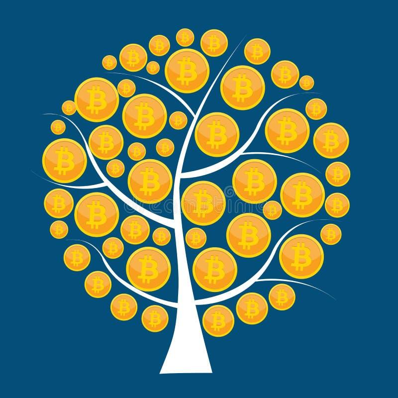 Plant begrepp för modern design av bitcoincryptocurrencyteknologi som bryter, e-plånbok royaltyfri illustrationer
