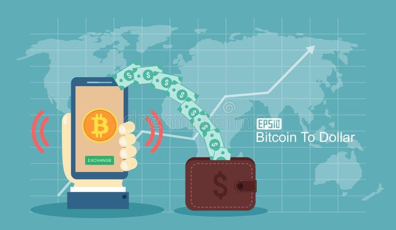 Plant begrepp för modern design av cryptocurrencyteknologi, bitcoinutbyte, bitcoin som bryter, mobil bankrörelse Hållande mobil p vektor illustrationer