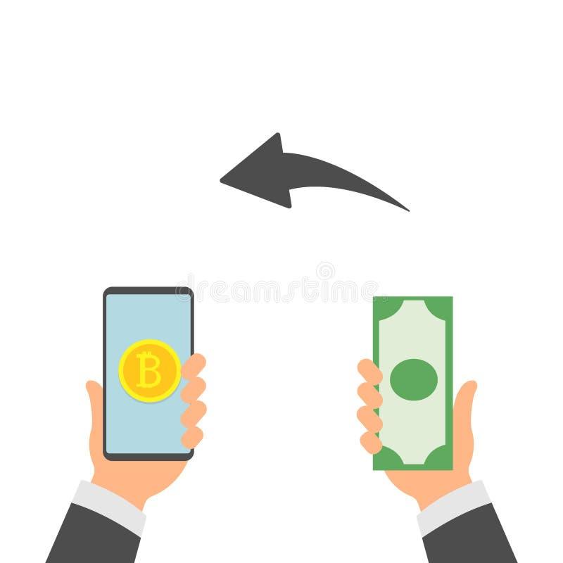 Plant begrepp för modern design av cryptocurrencyteknologi, bitcoinutbyte, bitcoin som bryter, mobil bankrörelse Handinnehav stock illustrationer