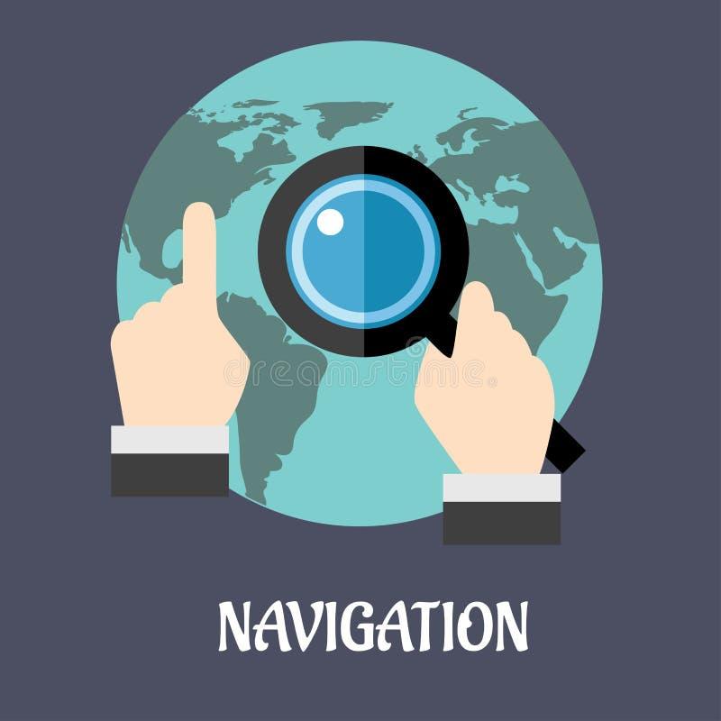 Plant begrepp för navigering eller för sökande vektor illustrationer