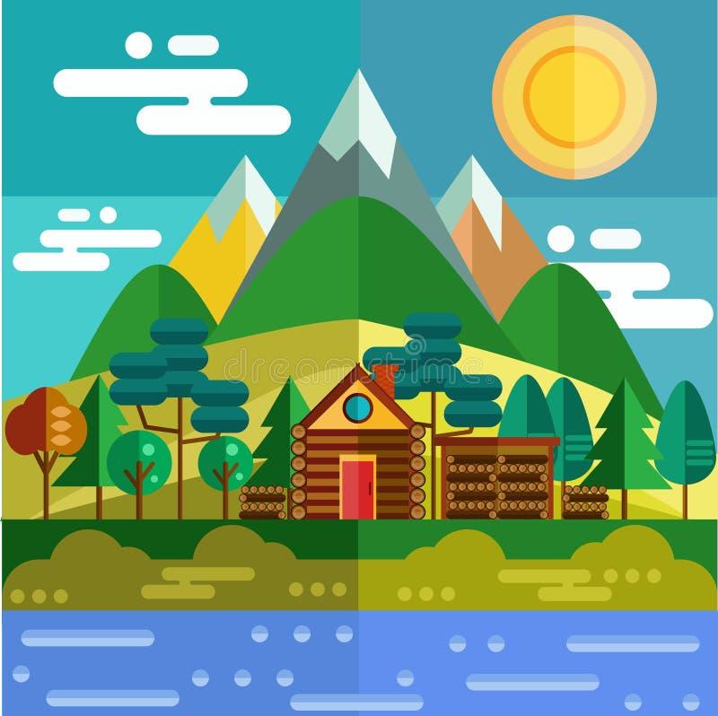 Plant berglandskap stock illustrationer