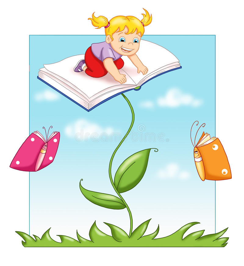 Plant of the book. Digital illustration of a child above an open book. The plant and the butterflies have the form of a book