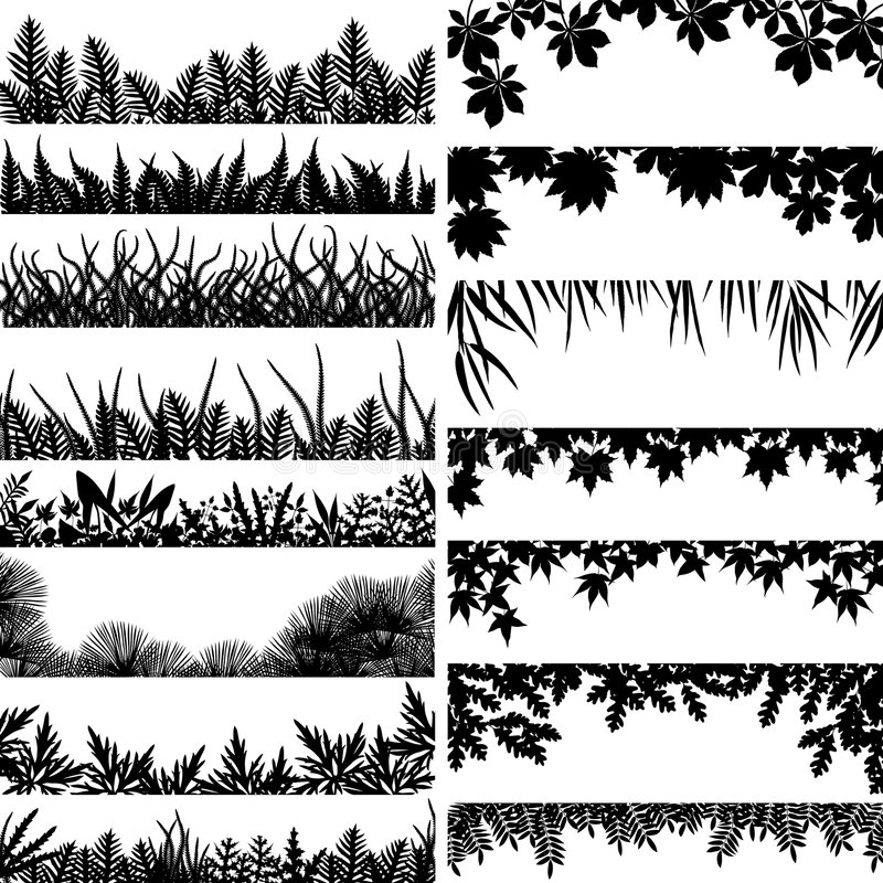 Plant borders. Selection of vector borders and foregrounds of various plants and trees vector illustration