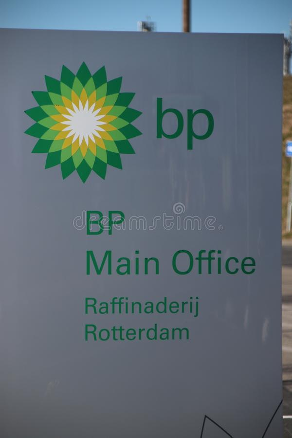 Plant of the BP Rotterdam Refinery in the Europoort harbor stock photos