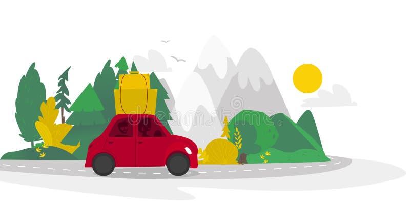 Plant campa för vektor, plats för vägtur stock illustrationer