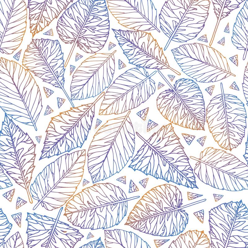 Plant colorful seamless pattern from leaves stock illustration