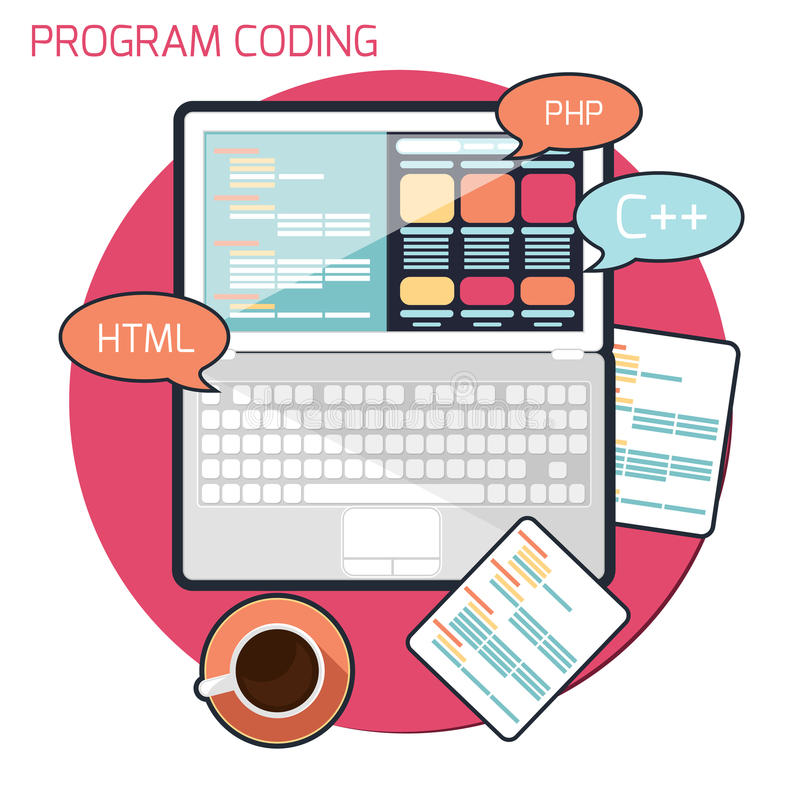 Plant designbegrepp av att kodifiera för program royaltyfri illustrationer
