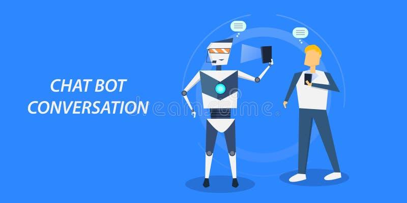Plant designbegrepp av pratstundbot, man som påverkar varandra med en chatbot till och med konversation royaltyfri illustrationer