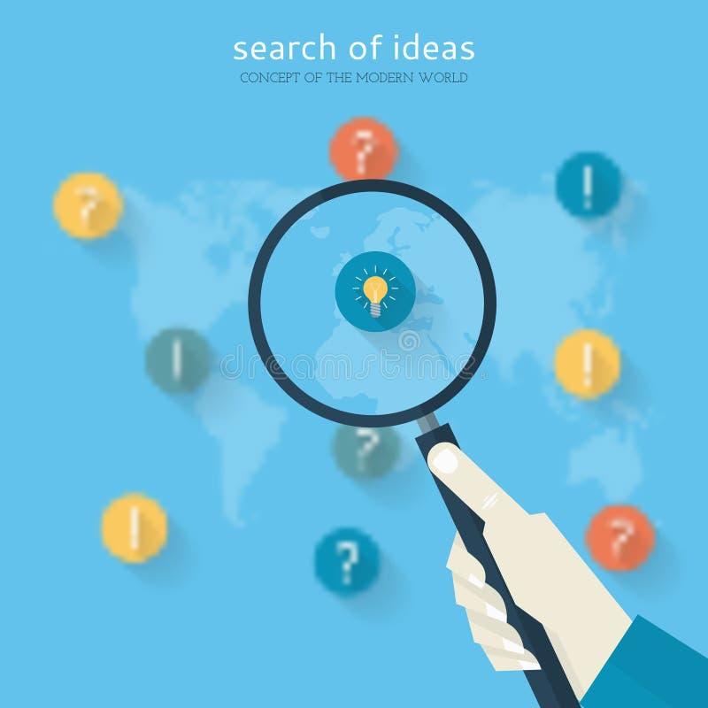 Plant designbegrepp av sökandet av idéer vektor illustrationer