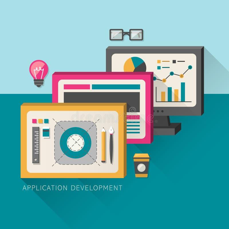 Plant designbegrepp av utvecklingsprocessen en applikation royaltyfri illustrationer
