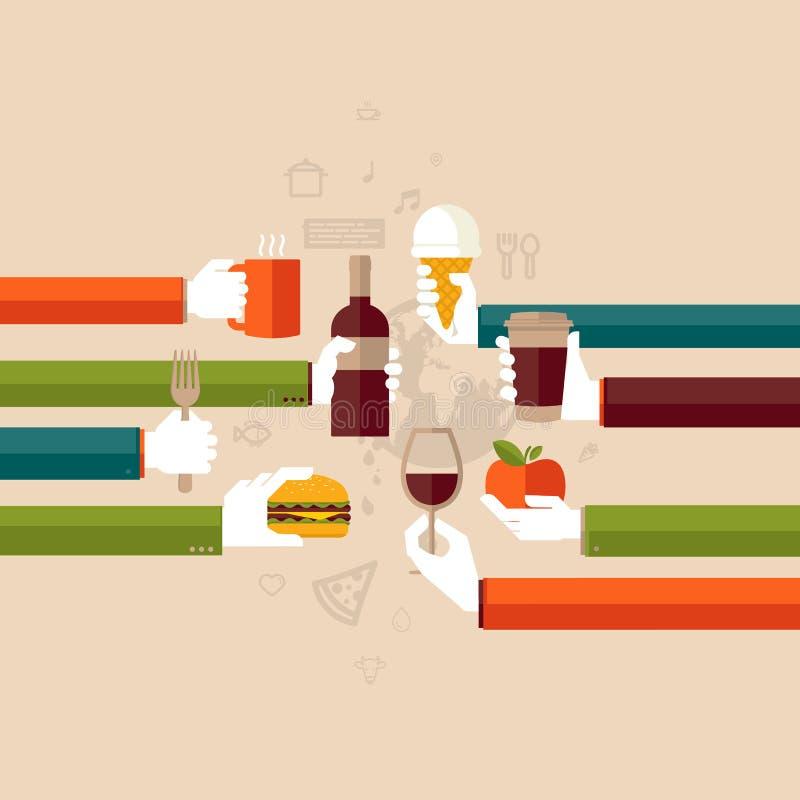 Plant designbegrepp för restaurang stock illustrationer