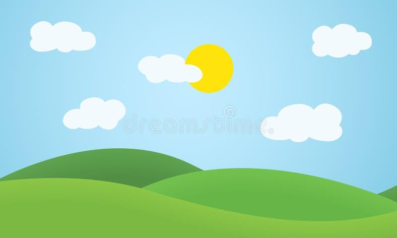 Plant designgräslandskap med kullar, moln och glödande sol u stock illustrationer