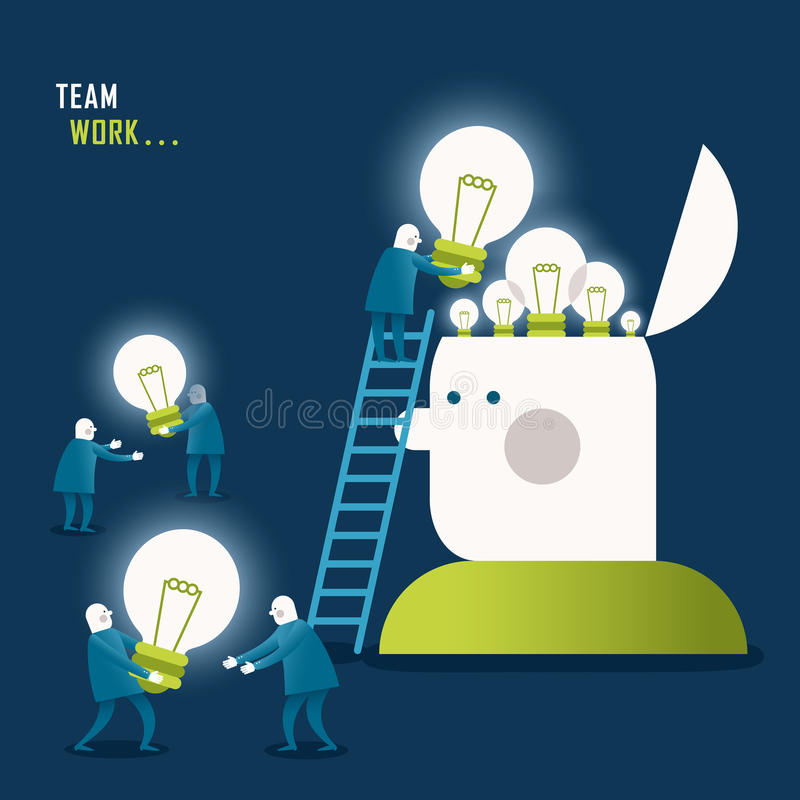 Plant designillustrationbegrepp av teamwork royaltyfri illustrationer
