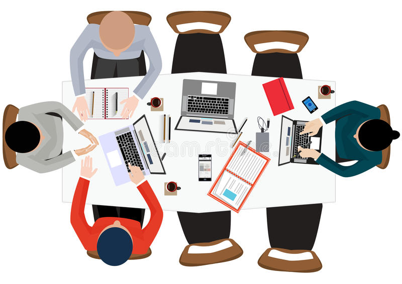 Plant designillustrationbegrepp för arbetsplats på kontoret, workspace stock illustrationer
