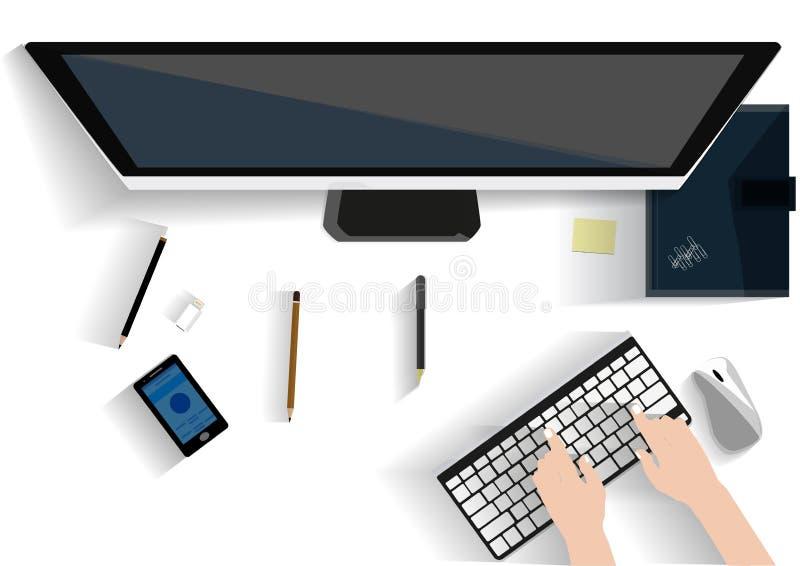 Plant designillustrationbegrepp för arbetsplats på kontoret, workspace royaltyfri illustrationer
