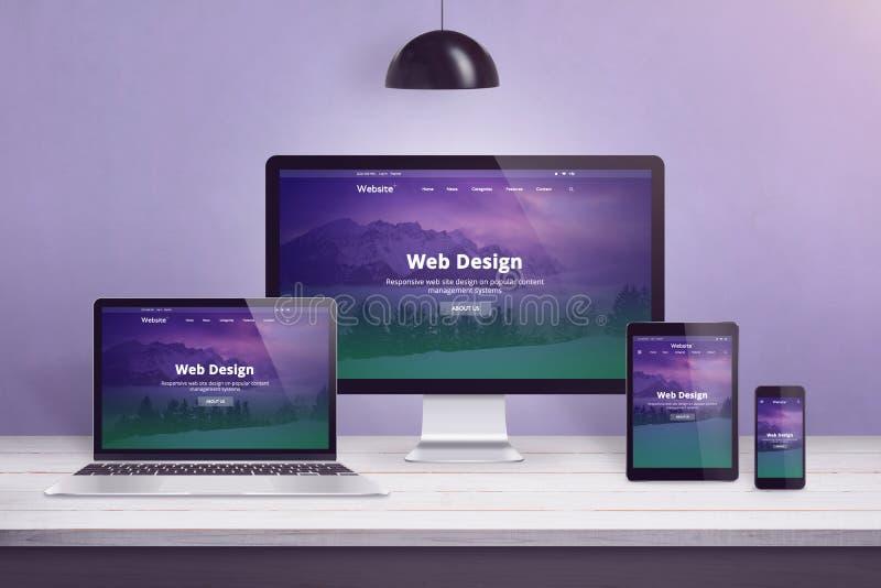 Plant designwebbplatsbegrepp på åtskilliga apparater royaltyfri illustrationer