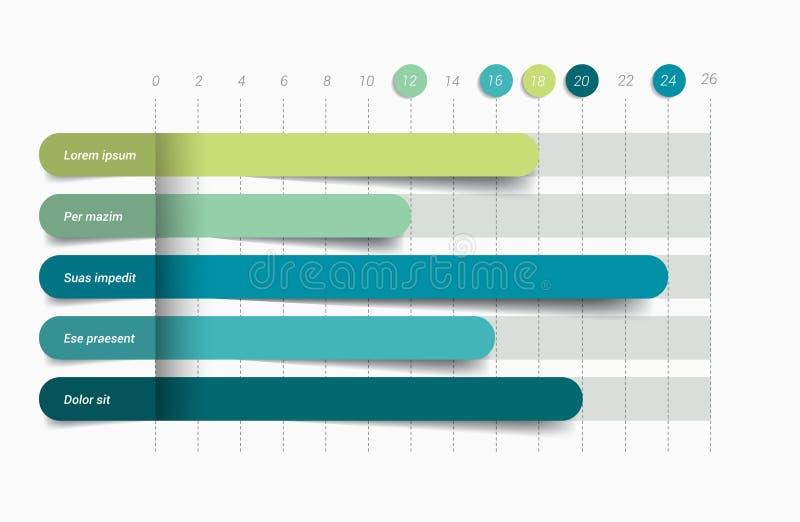Plant diagram, graf Enkelt redigerbar färg stock illustrationer