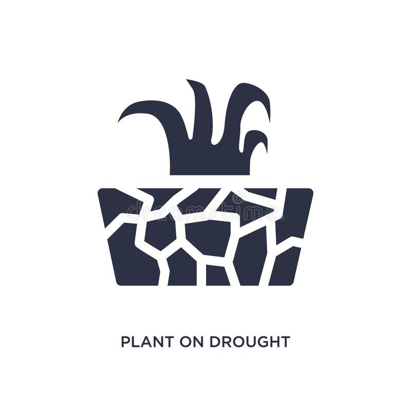 plant on drought icon on white background. Simple element illustration from meteorology concept stock illustration