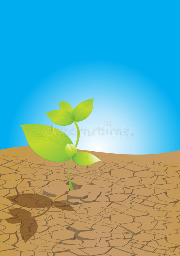 Plant from dry ground. Vector illustration of a new green plant growing from dried, cracked ground, with a blue circular gradient background stock illustration