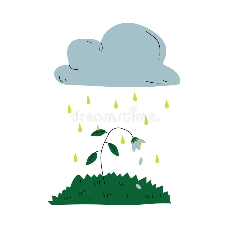 Plant Dying under Acid Rain Global Ecological Problem, Environmental Pollution Vector Illustration vector illustration