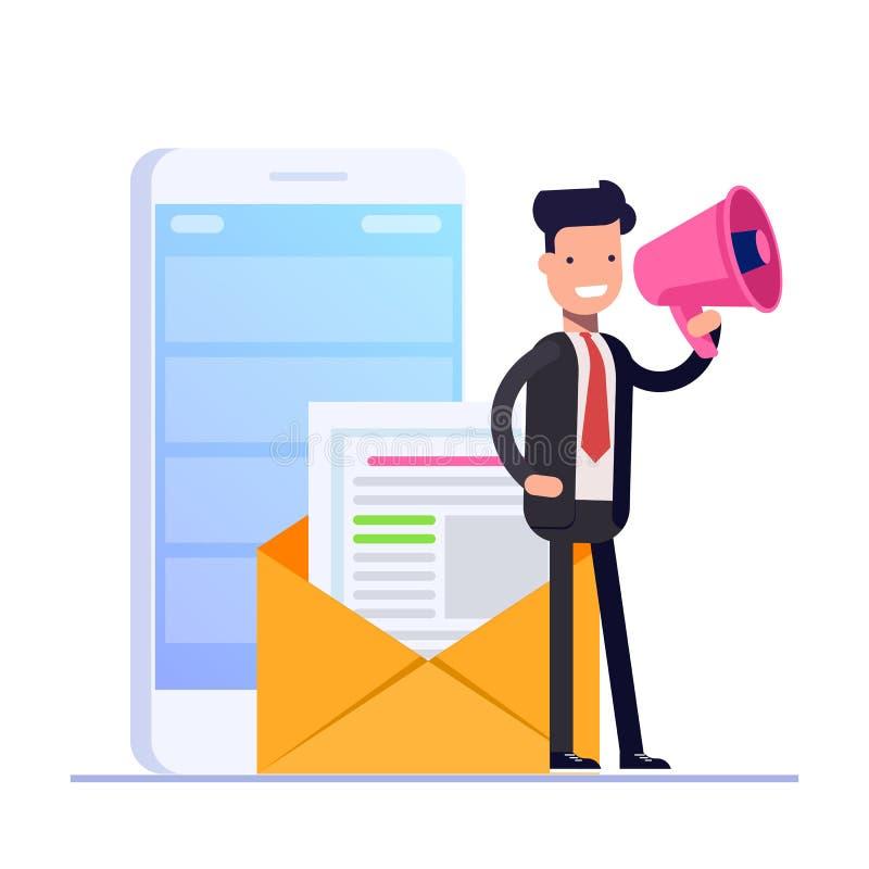 Plant emailmarknadsföringsbegrepp Affärsmannen eller chefen talar i megafon mot bakgrunden av ett öppet postkuvert royaltyfri illustrationer