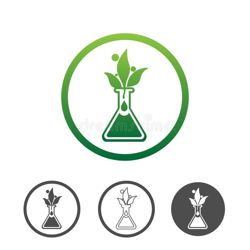 Plant Extract Icon. Natural plant extract icon, green leaves in a chemical vial. Contour line flat green vector icon. Different variations for website or app stock illustration