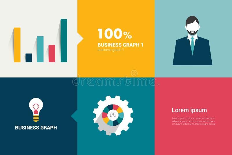 Plant färgrektangeldiagram för infographic. stock illustrationer