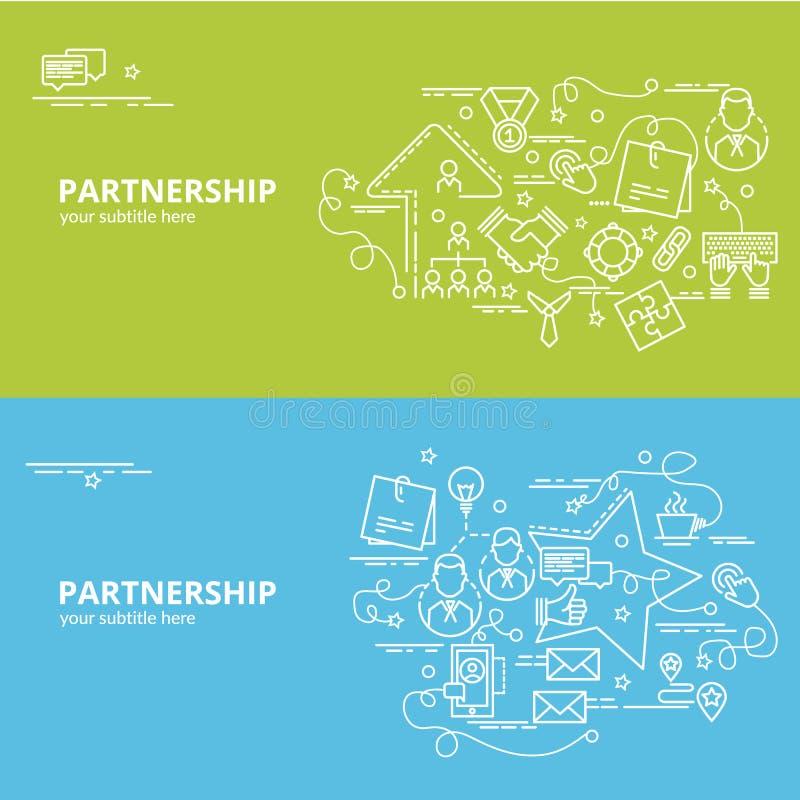 Plant färgrikt designbegrepp för partnerskap vektor illustrationer