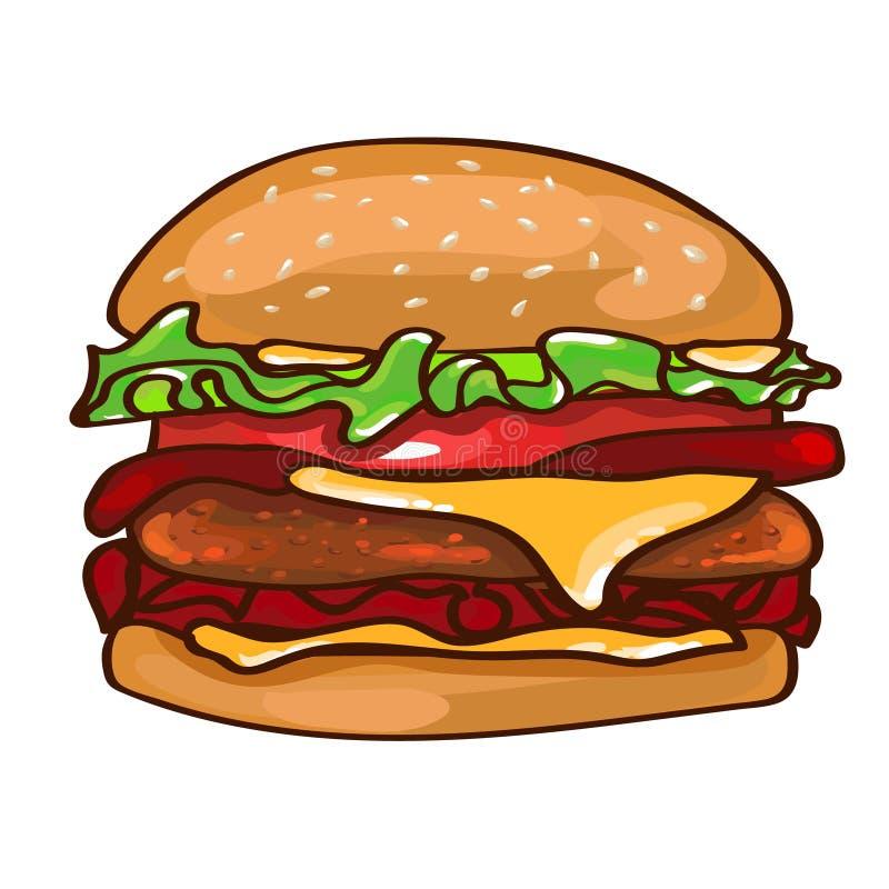 Plant färgrikt hamburgarebegrepp royaltyfri illustrationer