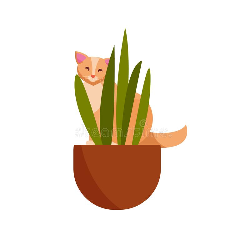 Plant färgtecken för skyldig katt Den gulliga stygga skämtsamma katten äter, skadehouseplats Kattungelek med husväxter, blomma royaltyfri illustrationer